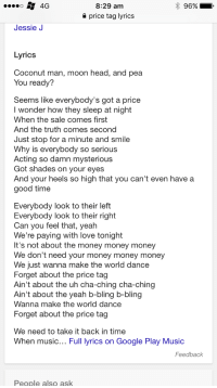 829 Am 4g Price Tag Lyrics Jessie J Lyrics Coconut Man