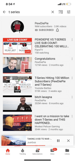 """Bitch, Videos, and youtube.com: 8:34  .l LTE  t series  X  PewDiePie  96M subscribers 3.8K videos  SUBSCRIBED  PEWDIEPIE VS T-SERIES  LIVE SUB COUNT  LIVE SUB COUNT:  D  HAUU  HAUL  CELEBRATING 100 MILLI..  T-Series  PewDiePie  Flare TV  158 watching  94,93  95,991,807  LIVE  Subscribers  Congratulations  PewDiePie  121M views 2 months ago  4:19  On August 29, 2018, the battle  officially started when PewDicPico  uploaded avideo titled """"TAIS CHANNEL  WILL OVES 2.96  T-Series Hitting 100 Million  Subscribers (PewDiePie  and T-Series)  D  22,076,345  Hours  11  PHDiePie  T-Series  96,141,320 99,836,620  19,181,152  19,031619  19.296681  19,181 152  Youtube Battles  515K views 3 weeks ago  -3,695,298  Sub Gap  bitch lasagna  PewDiePie  202M views 8 months ago  HOLY  2:15  I went on a mission to take  down T-Series and THIS  DTTT  SER  SERIES  SERIES  SERIES  HES  HAPPENED.  ook Corner  Modest Pelican Gaming  304K views 2 months ago  12:21  Antornth  TAKING A KID TO WAR -.  X  JoshDub  9+  Library  Home  Trending  Subscriptions  Inbox Is this a sign"""
