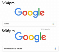 Google, Memes, and News: 8:34pm  Google  news  IG:PolarSaurusRex  8:36pm  Google  how to survive a nuke You know I had to
