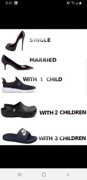 The evolution of footwear: 8:41  The  Weather  Channel  SINGLE  MARRIED  WITH 1 CHILD  WITH 2 CHILDREN  NI  OWITH 3 CHILDREN  II The evolution of footwear