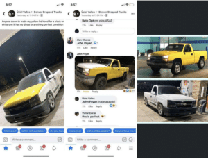 awesomacious:  Wholesome car ad: 8:57  8:57  Üzieł Valles Denver Dropped Trucks  Yesterday at 11:04 PM E  Üzieł Valles Denver Dropped Trucks  Yesterday at 11:04 PM E  ...  Beto Opt pm pics ASAP  Anyone down to trade my yellow hd hood for a black or  white one it has no dings or anything perfect condition  21h Like Reply  Write a reply.  Alan Chavez  John Payan O  17h Like Reply  John Payan  17h Haha Reply  Üziel Valles  John Payan trade asap lol  11h Like Reply  Victor Corral  this is perfect  11h Like Reply  Is this still available?  Is this still available?  Do you have  Interested!  Interested!  Do you have more  GIF (  GIF O  Write a comment...  Write a comment.. awesomacious:  Wholesome car ad
