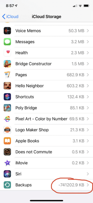 Apple, Books, and Hello: 8:574  iCloud  iCloud Storage  50.3 MB  Voice Memos  3.2 MB  Messages  2.3 MB  Health  1.5 MB  Bridge Constructor  682.9 KB  Pages  603.2 KB  Hello Neighbor  132.4 KB  Shortcuts  85.1 KB  Poly Bridge  Pixel Art Color by Number 69.5 KB >  21.3 KB  Logo Maker Shop  LOGO  3.1 KB  Apple Books  0.5 KB  Does not Commute  0.2 KB  iMovie  Siri  -741202.9 KB  Backups Well, I found out where all my storage has disappeared into.