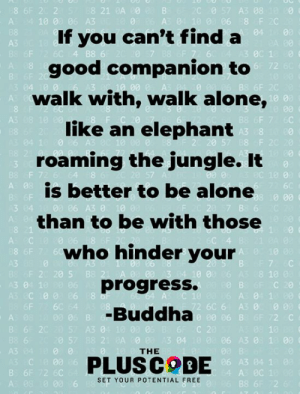 Being Alone, Memes, and Buddha: 8 6F 2 2  A: 4 10 0 06 A3  0 57 A3 08 1 0  0 06 8 F 2C  If you can't finda  good companion to  walk with, walk alone,  like an elephant  roaming the jungle. It  is better to be alone  than to be with those  who hinder your  progress.  -Buddha  04 00  АЗ  B8  0c 1  72  04 10 0  A3 800  8 F  A: 08  A3 0  А С  7 C  F 2 20 5  10 0  8 10  3 04 1  C 20  C00 06  A: 04 1  72 6C 6 A3 0 0  06 B  00 06 B  2 C  B 6 20  A3 0  0 57  06 A3 0 1 00  THE  C 00  B 6F 72 6C  PLUSCOBE  06 A3 04 1  As 0C 1  B8 6 2  SET YOUR POTENTIAL FREE  00 6 <3