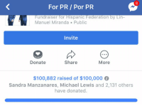 Anaconda, Memes, and Thank You: 8  For PR/ Por PR  Fundraiser for Hispanic Federation by Lin-  Manuel Miranda Publi  Invite  Donate  Share  More  $100,882 raised of $100,000  Sandra Manzanares, Michael Lewis and 2,131 others  have donated. YOU ARE. INCREDIBLE.  THANK YOU. https://t.co/qe8g40aP2q