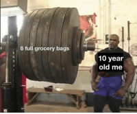 Memes, Old, and 🤖: 8 full grocery bags  10 year  old me