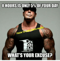 Only 5%?: 8 HOURS ISONLY OF YOUR DAY  ED  DoD N  TRAIN T  WHAT'S YOUR EXCUSE Only 5%?