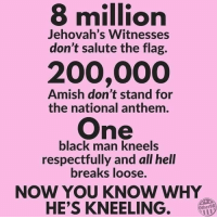 respectfully: 8 million  200,000  One  Jehovah's Witnesses  don't salute the flag.  Amish don't stand for  the national anthem.  black man kneels  respectfully and all hell  breaks loose.  NOW YOU KNOW WHY  HE'S KNEELING  Other98