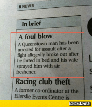 Club, News, and Tumblr: 8 NEWS  In brief  A foul blow  A Queenstown man has been  arrested for assault after a  fight allegedly broke out after  he farted in bed and his wife  sprayed him with air  freshener  Racing club theft  A former co-ordinator at the  Ellerslie Events Centre is  THE META PICTURE lolzandtrollz:  Serious Assault Charge