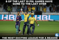 Beauty of PSL (y)  By: CT: 8 OF THE LAST 10 PSL GAMES HAVE  GONE TO THE LAST OVER  GGP  THE MOST EXCITING LEAGUE FOR A REASON Beauty of PSL (y)  By: CT