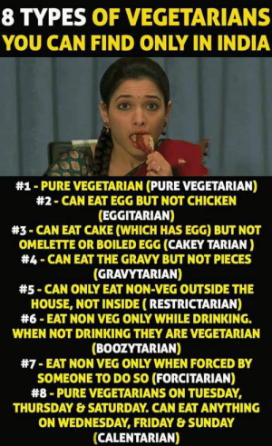 Drinking, Friday, and Vegan: 8 TYPES OF VEGETARIANS  YOU CAN FIND ONLY IN INDIA  #1-PURE VEGETARIAN (PURE VEGETARIAN)  #2-CAN EAT EGG BUT NOT CHICKEN  (EGGITARIAN)  #3-CAN EAT CAKE (WHICH HAS EGG) BUT NOT  OMELETTE OR BOILED EGG (CAKEY TARIAN)  #4-CAN EAT THE GRAVY BUT NOT PIECES  (GRAVYTARIAN)  #5-CAN ONLY EAT NON-VEG OUTSIDE THE  HOUSE, NOT INSIDE (RESTRICTARIAN)  #6-EAT NON VEG ONLY WHILE DRINKING.  WHEN NOT DRINKING THEY ARE VEGETARIAN  BOOZYTARIAN)  #7-EAT NON VEG ONLY WHEN FORCED BY  SOMEONE TO DO SO (FORCITARIAN)  #8-PURE VEGETARIANS ON TUESDAY,  THURSDAY & SATURDAY. CAN EAT ANYTHING  ON WEDNESDAY, FRIDAY&SUNDAY  (CALENTARIAN) Travelling Vegan – Sukanya Ramanujan