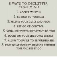 Which one works best for you?: 8 WAYS TO DECLUTTER  YOUR MIND  . ACCEPT WHAT IS  2. BE KIND TO YOURSELF  3. RELEASE YOUR GUILT AND FEARS  4. LET GO OF CONTROL  5. VISUALIZE WHATS IMPORTANT TO You  6. FOCUS ON YOUR LIFE-FORCE ENERGY  7. ALLOW YOURSELF TO BE VULNERABLE  8. FIND WHAT DOESN'T SERVE OR INTEREST  YOU AND LET IT GO Which one works best for you?