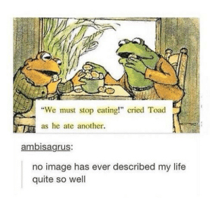 "Life, True, and Image: 8  ""We must stop eating!"" cried Toad  as he ate another  ambisagrus:  no image has ever described my life  quite so well True"