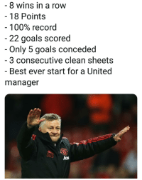 Anaconda, Goals, and Memes: 8 wins in a row  - 18 Points  100% record  22 goals scored  Only 5 goals conceded  3 consecutive clean sheets  - Best ever start for a United  manager  UGS United fans, should he stay? ⚽️🏆📝