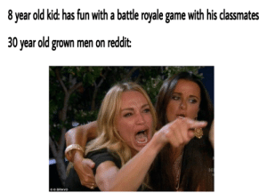 Dank, Memes, and Reddit: 8 year old kid: has fun with a battle royale game with his classmates  30 year old grown men on reddit:  OBRAVO sad reacc only by gporafk MORE MEMES
