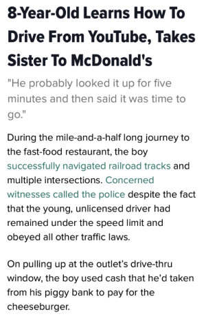 "sacheland: Chaotic Good brother.: 8-Year-Old Learns How To  Drive From YouTube, Takes  Sister To McDonald's  ""He probably looked it up for five  minutes and then said it was time to  go.   During the mile-and-a-half long journey to  the fast-food restaurant, the boy  successfully navigated railroad tracks and  multiple intersections. Concerned  witnesses called the police despite the fact  that the young, unlicensed driver had  remained under the speed limit and  obeyed all other traffic laws.  On pulling up at the outlet's drive-thru  window, the boy used cash that he'd taken  from his piggy bank to pay for the  cheeseburger. sacheland: Chaotic Good brother."