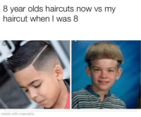 Our parents were straight savages: 8 year olds haircuts now vs my  haircut when I was 8  made with mematic Our parents were straight savages