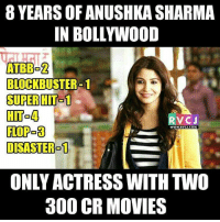 8 Years of Anushka Sharma rvcjinsta: 8 YEARS OF ANUSHKA SHARMA  IN BOLLYWOOD  ATBBO2  BLOCKBUSTER-1  SUPER HIT 1  HTo4  RV CJ  FLOPO3  WWW. RVCU.COM  DISASTER 1  ONLY ACTRESS WITH TWO  300 CR MOVIES 8 Years of Anushka Sharma rvcjinsta