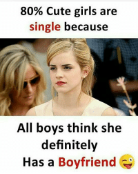 Cute, Definitely, and Girls: 80% Cute girls are  single because  All boys think she  definitely  Has a Boyfriend IT'S ALL LOVE
