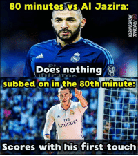 Memes, Real Madrid, and Emirates: 80 minutes vS Al Jazira:  Does nothing  subbed on in the 80th minute  Emirates  Scores with his first touch Bale is bacc!! ... Is Benzema good enough for Real Madrid ❓