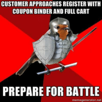 Cvs, Net, and Preparing: CUSTOMER APPROACHES REGISTER WITH  COUPON BINDER AND FULL CART  PREPARE FOR BATTLE  memegenerator.net Jeanie submits