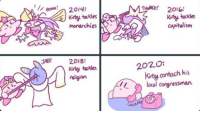 Capitalism, Religion, and Kirby: //80Nİ!  BONk!  2014:  Tauck 201oi  Kirby tuckles  capitalism  monarchies  JAB! 2018:  kirby tackles  religion  2020:  Kirby contacts his  local congressman.
