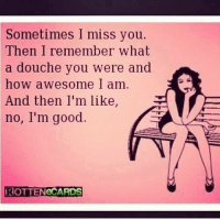 Rotten E Cards: Sometimes I miss you.  Then I remember What  a douche you were and  how awesome I am.  And then I'm like,  no, I'm good.  ROTTENeCARDS