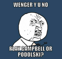 Arsenal, Soccer, and Credited: WENGER YUNO  PLAY CAMPBELL OR  PODOLSKIn Arsenal fans [ Credit to Philip Ndirangu ]