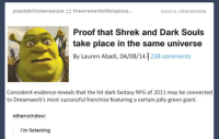 #TheWorstOfTumblr: popdatchickensauce theanswertolifeispizza...  Source: otherwindow  Proof that Shrek and Dark Souls  take place in the same universe  By Lauren Abadi, 04/08/14  238 comments  Consistent evidence reveals that the hit dark fantasy RPG of 2011 may be connected  to Dreamwork's most successful franchise featuring a certain jolly green giant.  other window  i'm listening #TheWorstOfTumblr