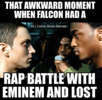 THAT AWKWARD MOMENT  WHEN FALCON HAD A  IG l Comic Book.Memes  RAP BATTLE WITH  EMINEM AND LOST ~ Deadpool