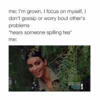 Kardashians, Keeping Up With the Kardashians, and Lol: me: I'm grown, l focus on myself, I  don't gossip or worry bout other's  problems  *hears someone spilling tea  me:  KEEPING UP WITH  THE KARDASHIANS  BRAND NEW  HKUWTK lol @typicalgirl