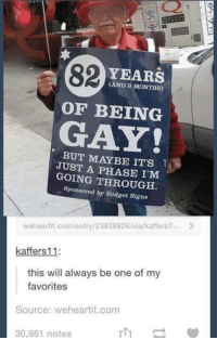 we heart it: 82  YEARS  MONTHS)  OF BEING  GAY  BUT MAYBE IT'S  JUST A PHASE GOING Sponsored by Budget Signs  weheartit.com/entry/23838826/via/kaffers?...  kaffers 11  this will always be one of my  favorites  Source: we heart it.com  30,981 notes