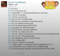 grin emoticon: Daniel M. Cartpjhlilkkghg  TRACK LIST  0:00 ID (Intro  05:32 ID ID (Original mix)  07:01  GER ft BRA 7-1 [Label Brazill (Remix by Germany)  09:11  ID ft ID DI (ID Mix)  12:11  ID ft DI D (remix D  15:33  ID vs ID ft ID ID (Radio Edit)  17:45  ID ft ID-ID vs ID (Remix of the Remix by ID)  21:22  ID ID (ID Edit) [coming soon  24:55  ID ft ID (ID New Music) [OUT Now]  29:34  ID present ID ID MIX (ID Label)  33:33  ID ft lluminati uminati med  37:12  ID ft DI D.I. [Mix by ID vs ID]  41:11  ID vs ID (R  of the Remix of the Remix BY ID) coMING SooN)  emix 45:23  ID ID vs DI Di Ei loriginal Mix]  50:11  ID ft IDIDID(new artist) IDI (OUT NOW)  55:33 ID id (Radio Edit)  58:12 id ft id ID (Remix of radio edit)  Remix BY Never Forget) (Remix of 7-1]  1:17:17  BRA ft GER 7-1  1:20:23 ID ft ID ft ID vs ID id (Remix id vs ID) Radio Edit  1:33:33 ID ft ILuminati uminati Confirmed (Remix BY HALF LIFE) grin emoticon
