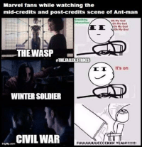 ~ Deadpool: Marvel fans while watching the  mid-credits and post-credits scene of Ant man  Beoathing  Oh My God  Oh My God  Oh My God  Noh My God  THE WASP  HITHEALTHLSTRIKES  TT It's on  WINTERSOLDIER  CIVIL WAR  FUUUUUUUCCCCKKK YEAH!!!!!!!! ~ Deadpool