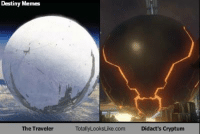 Destiny, Halo, and Meme: Destiny Memes  The Traveler  TotallyLooksLike com Didact's cryptum Traveler confirmed to secretly be the Didact in an M. Night Shyamalan twist. Go check out Destiny Memes by the way! Traveler confirmed to secretly be the Didact in an M. Night Shyamalan twist. -Chris