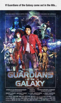 80s, Disney, and Nerd: If Guardians of the Galaxy came out in the 80s...  CREATORS OF STAR WARS ANO CAPTAIN eo  FROM WAAT DISNEY STUDIOS, MARNEL COMICS  ICHA  is STAR eORD in  GUARDIANS  of the  GALAXY  ARNOUDSCHWARZENEGGER VANITY  ISTOPHER LAMBERT  as DRAXM DESTROYER  GRACE JONES BERNIE CASEY CARL WEATHERS ANDY WARHOL  as NCOULA  as YONDU You know it's true. Film Nerd