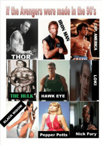 Avengers were madein(le90s  THOR  THE HULK  HAWKEYE  Pepper Potts Nick Fury -The Winter Soldier