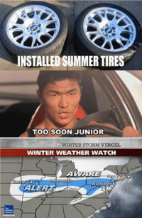 Too soon...  Car memes: INSTALLED SUMMER TIRES  TOO SOON JUNIOR  WINTER STORM VIRGIL  WINTER WEATHER WATCH  ARE  City  yWashingtop Too soon...  Car memes