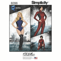 Memes, Soon..., and Ups: 8286  iddle  Simplicity  Designed and printed in the USA  Disenado e impreso en los Estados Unidos  Créé et imprimé aux Etats Unis My First pattern With Simplicity Patterns it now available in any stores that carry simplicity, Super Hero bodysuit that can incorporates nonstretch fabrics   This Pattern has been a long time in the making with a lot of back and forth with Simplicity with what I wanted and ended up doing my own mock up and then had the chance to take what I had created so far and work with a co worker Dale Wibben (cutter/fitter for many marvel films for Characters like Bw, Cap, Antman) to help me make it more the lines more aesthetic. So big thank you so him and made sure Simplicity provided him equal credit!  I hope many of you find it useful, many of the seam lines can be removed/moved to create a different look. I wanted a versatile base that  either could be used as is, or modify to create your own look! Raglan sleeve, Front or back zipper, stretch in the leg and seat,  extended sleeves and legs for elastic a to hold everything in place, Can be used with all stretch or minimal stretch fabrics as well in any of the non stretch spots.  I developed this pattern because often I would find cool texture fabrics with no stretch that I wanted to integrate into my costumes. Everything pattern was designed for stretch. Keep in mind for the best fit slight modifications should be done, since you are working with non stretch but once you have tweaked it, you will have a base pattern (sloper) that will be SO helpful! SO always do a mock up first :) SO excited to see what you make with it!   More patterns coming soon! <3