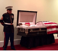 Memes, Vietnam, and Old: 83 year old USMC vet stands beside his Vietnam brothers casket at his funeral. https://t.co/qlf0fsq8nK
