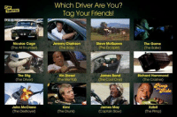 Cars, Drunk, and Friends: THROTTLE  Nicolas Cage  (The All Rounder)  The Stig  The Driver  John McClane  Which Driver Are You?  Tag Your Friends!  Jeremy Clarkson  Steve McQueen  The Boss  (he Escapist  James Bond  Vin Diesel  The Mental  (The Cool One)  James May  Kimi  (The Drunk  (Captain Slow)  The Game  Richard Hammond  (The Crasher)  Xzibit  Che Pimp Which driver are you? Tag a mate! Car memes