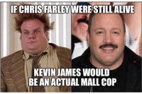 Chris Farley: CHRIS FARLEY  WERESTILL ALIVE  KEVIN JAMES WOULD  BE AN ACTUAL MALL COP
