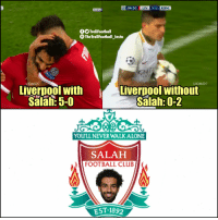 Club, Football, and Memes: 84:50  LIV  5-2  ROM  OO TrollFootball  TheTrollFootball_Insta  LIOMO9  LIOMO9  Liverpool with  Salah: 5-0  Liverpool without  Salah: 0-2  0  YOULL NEVER WALKALONE  SALAHH  FOOTBALL CLUB  EST.1892 Salah FC https://t.co/wpVWaLXtro