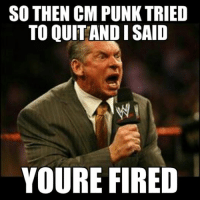 Best fucking meme ive ever made. Mcmahon is GOD: SO THEN CM PUNKTRIED  TO OUITANDISAID  YOURE FIRED Best fucking meme ive ever made. Mcmahon is GOD