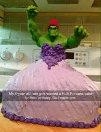 ~MadTitan~: My 4-year old twin girls wanted a Hulk Princess cake  for their birthday. So I made one. ~MadTitan~