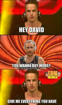 grin emoticon: HEY DAVID  YOU WANNA BUY MORE  MEMES  GIVE MEEVERYTHING YOU HAVE grin emoticon