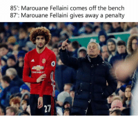 😂😂😂: 85': Marouane Fellaini comes off the bench  87': Marouane Fellaini gives away a penalty 😂😂😂