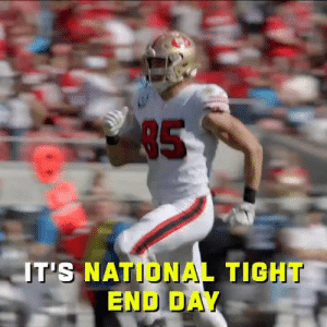 """It's #NationalTightEndsDay. All is right in the world.""  Put your sound ALL THE WAY up for TEs around the league going crazy for their inaugural holiday! 😂 (via @NFLFilms) https://t.co/m1yvwoOPjQ: 85  T'S NATIONAL TIGHT  END DAY ""It's #NationalTightEndsDay. All is right in the world.""  Put your sound ALL THE WAY up for TEs around the league going crazy for their inaugural holiday! 😂 (via @NFLFilms) https://t.co/m1yvwoOPjQ"