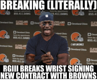 Calvin Johnson, Memes, and Nfl: 855.411 DAWG  5.411 DAWG  855.4  855.411 DAWG  ONFLMEMEZ  855.411 D  RGIII BREAKS WRIST SIGNING  NEW CONTRACT WITH BROWNS Tough break for RGIII Credit: The Kicker | LIKE NFL Memes!