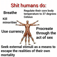 Post Ironic Memechartcore II: But Then WAS Graph: Shit humans dot  Regulate their core body  Breathe  temperature to 37 degrees  Celsius  Kill  minorities  Procreate  Use currency  through the  act of sex  Seek external stimuli as a means to  escape the realities of their own  mortality Post Ironic Memechartcore II: But Then WAS Graph