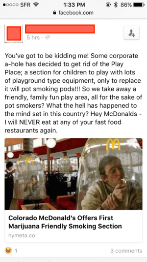 "memehumor:  Think of the children!: 86%.  0000 SFR  1:33 PM  a facebook.com  ""  5 hrs e  You've got to be kidding me! Some corporate  a-hole has decided to get rid of the Play  Place; a section for children to play with lots  of playground type equipment, only to replace  it will pot smoking pods!!! So we take away a  friendly, family fun play area, all for the sake of  pot smokers? What the hell has happened to  the mind set in this country? Hey McDonalds  I will NEVER eat at any of your fast food  restaurants again.  Colorado McDonald's Offers First  Marijuana Friendly Smoking Section  nymeta.co  3 comments memehumor:  Think of the children!"